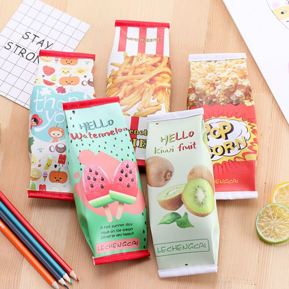 Cute Watermelon French Fries Pattern Pencil Cases For Girls PU Leather Kawaii Pencil Bag Fruit Stationery Office School Supplies