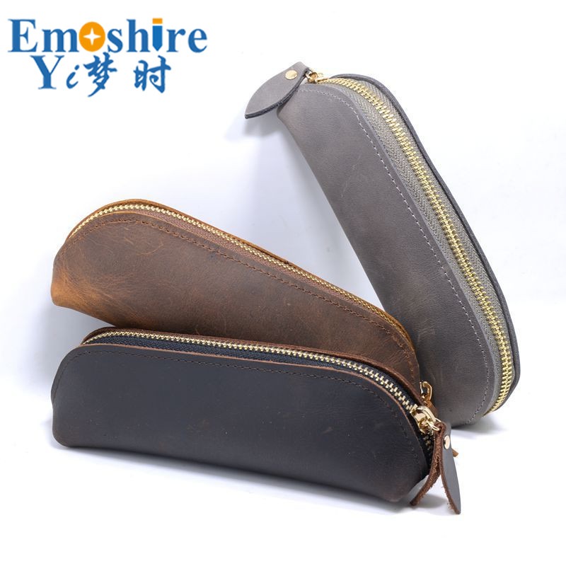 Creative Large Capacity Leather Pencil Case School Zipper Pencil Case Pen Bag Student Stationery Pencil Bag B279 big capacity high quality canvas shark double layers pen pencil holder makeup case bag for school student with combination coded lock