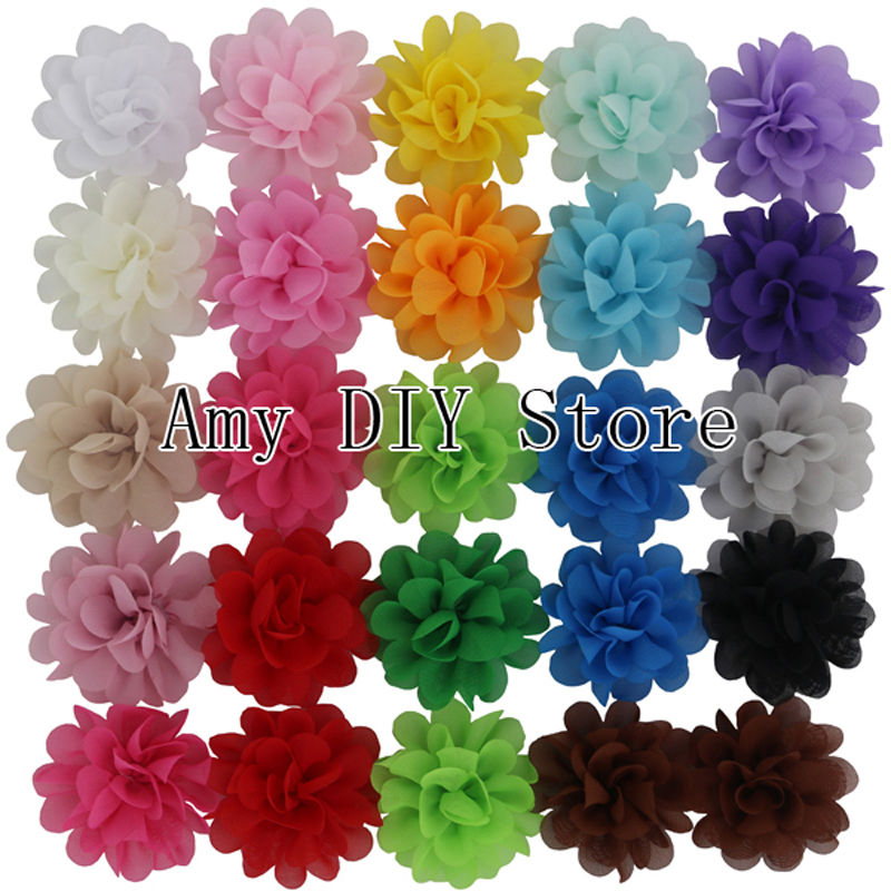 Free Shipping!120pcs/lot Baby Girls 2.4' Mini Chiffon Flowers Kids Charlotte Tulle Puff Flowers For Infant Hair Accessories