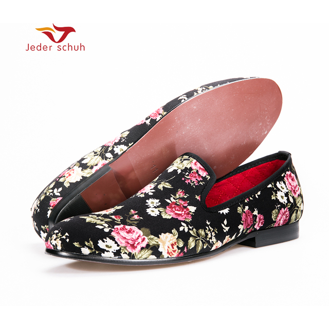 2017 new French style rose pattern Handmade Wedding and Party Loafers Men Flats Size US 6-15 Free shipping