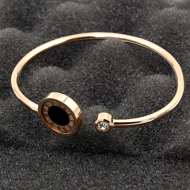 Modna obrotowa czarno-biała rzymska cyfrowa podwójna bransoletka tytanowa stalowa kryształowa bransoletka dla kobiet biżuteria