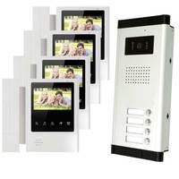 Новая квартира Дверные звонки 4.3 ''TFT Цвет телефон двери 4 Мониторы с 1 внутрнний дверной звонок Камера видео вызов к 4 дома