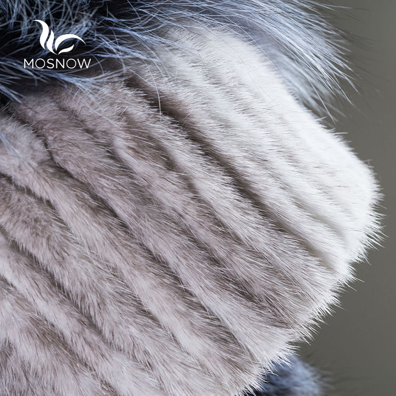 New 2019 Real Mink Fur Woman Winter Hats Silver Fox Pompons Stripe - Apparel Accessories - Photo 5