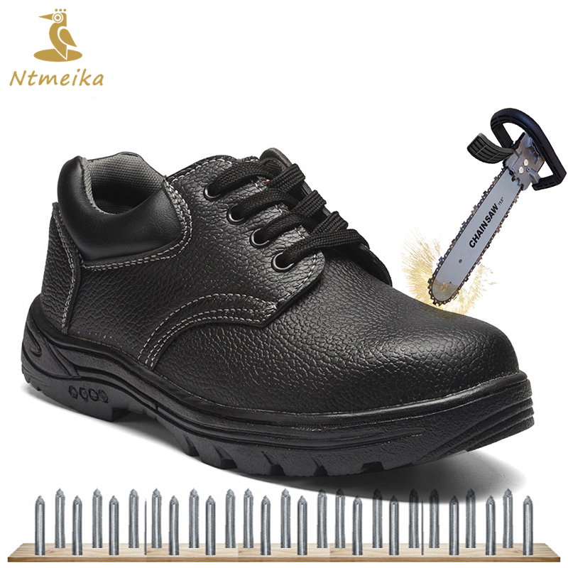 Big Size 36-46 Men Work Safety Shoes Steel Toe Steel Insole Leather Safety Boots Men Black Puncture proof Protection Footwear