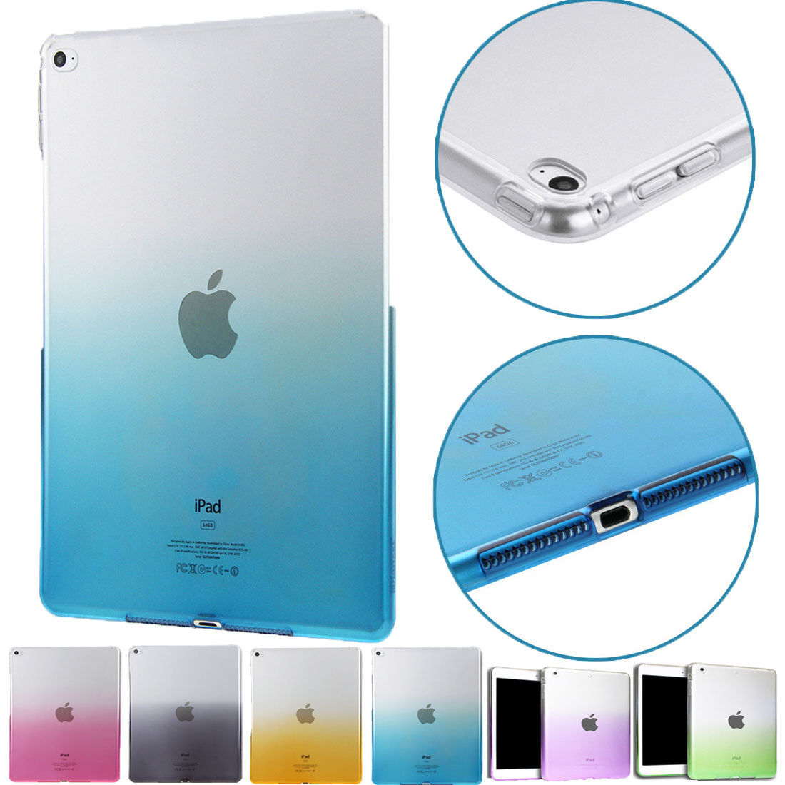 For iPad 9.7 2017 Case Cover Silicone Soft TPU A1822 A1823 Gradient Clear Case Slim Shell Back Cover For iPad 2017 2018 9.7 inch for apple ipad mini 1 2 3 4 silicone soft case colorful gradient transparent back cover for ipad mini clear tpu protective shell