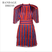 2017 New Arrival Women Summer Mini Dress Red Blue Short Sleeve Striped Nappa Vestidos Celebrities Of
