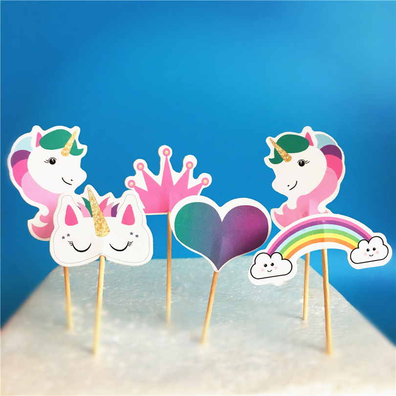 72pcs Unicorn Horse candy bar cupcake toppers pick baby shower kids birthday party suppl ...