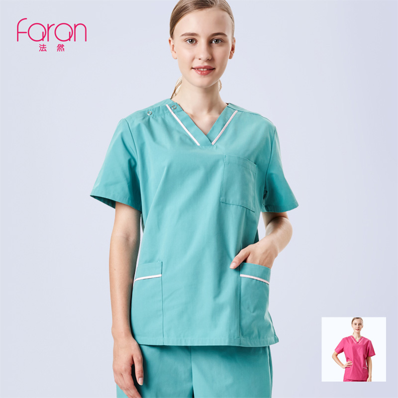 FARAN Green Red Nursing Scrubs Set For Women Men Doctor Hospital Medical Clothing Nurse Uniform Style Include Top And Pant
