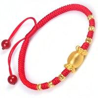 Новый 999 чистый 24 К желтого золота 3D сладкие конфеты и 3 мм Лаки бисера женская регулируемый вязаный браслет