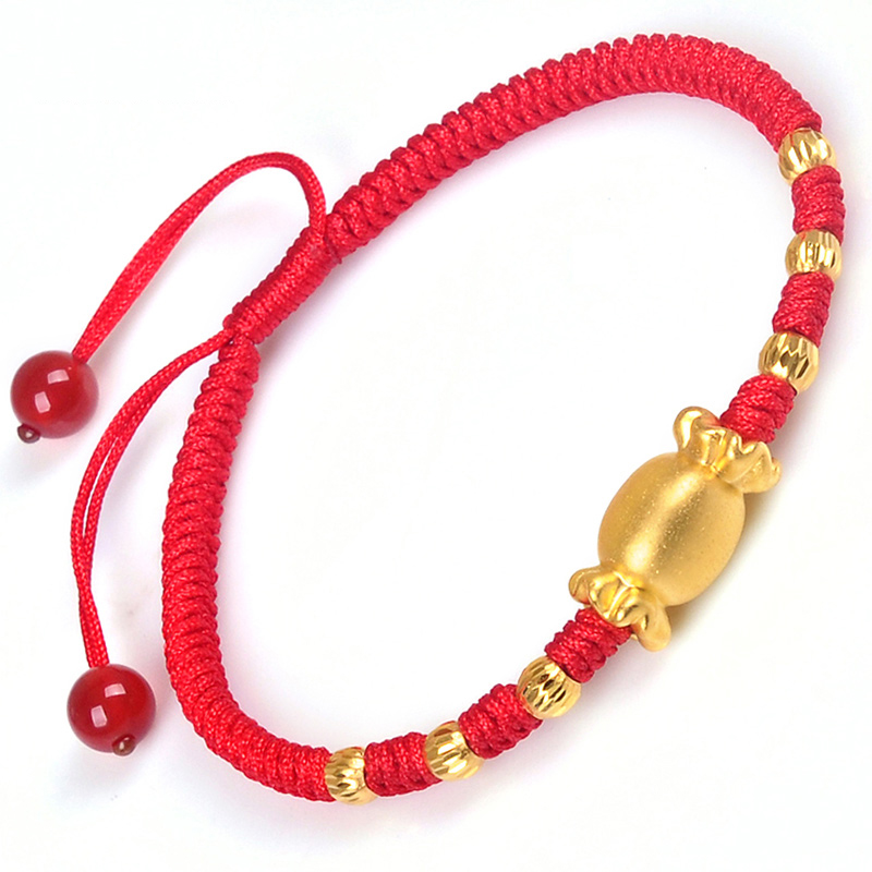 New 999 Pure 24K Yellow Gold 3D Sweet Candy & 3mm Lucky Bead Woman's Adjustable Knitted Bracelet