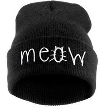 Fashion New Brand 2015 Warm Cotton Beanie Unisex Autumn Winter Letter Printed MEOW Hip-Hop Knitted Hat for Women Skullie 1MZ0342