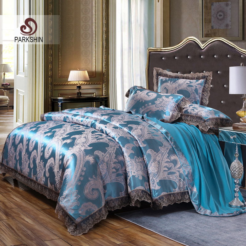 Parkshin Luxury Satin Jacquard Sky Blue Bedding Set Silk Duvet Cover Bed Sheet Pillowcase Bed Linen Bedspread Double Queen KingParkshin Luxury Satin Jacquard Sky Blue Bedding Set Silk Duvet Cover Bed Sheet Pillowcase Bed Linen Bedspread Double Queen King
