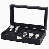 12 Grid Watch Case Jewelry Storage Organizer Carbon Fiber Watch Box Weave Pattern Watch Collection Display