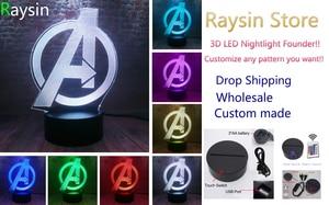 Image 5 - Creative The Avengers 4 Sign Model LOGO Super Hero Marvel Legends 3D RGB LED Night Light Kids Toys Xmas Gift Table Bedroom Decor