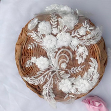 1 Piece Ivory Lace Applique 3D Flower Patch DIY Fabric Trim for Clothes Accessories Hardware