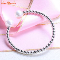 Shell Pearl Genuine Real Pure Solid 925 Sterling Silver Bangles For Women Jewelry Female Beads Cuff