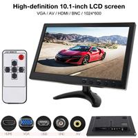 10.1 Inch HD IPS TFT LCD Monitor Mini TV Computer 2 Channel Video Input Security Monitor with Speaker AV BNC VGA HDMI