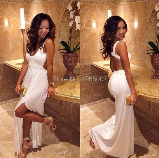 Silm Prom Dresses Slit Side Square Neck Open Back Cut Out White Long