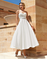 Jark Tozr Custom Made Strapless Backless Pleat Beading Ribbons White Short Bridal Gown 2017 A Line