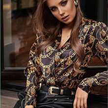Women Password Heavy Metal Chain Printed Vintage Blouse Shirts Female Vogue High Street Criss-Cross V Neck Blouses Tops Shirt criss cross front two tone blouse
