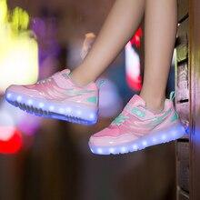 ED Shoes for Boy&Girl USB Charging illuminated krasovki Luminous Sneakers Kids Light Up Glowing LED