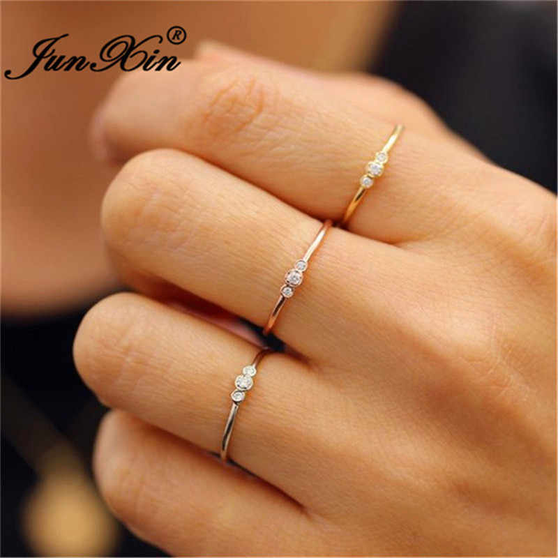 JUNXIN Stacking Minimalist Thin Rings For Women 925 Silver Rose Gold Filled Girl Dainty Small White Crystal Wedding Ring Jewelry