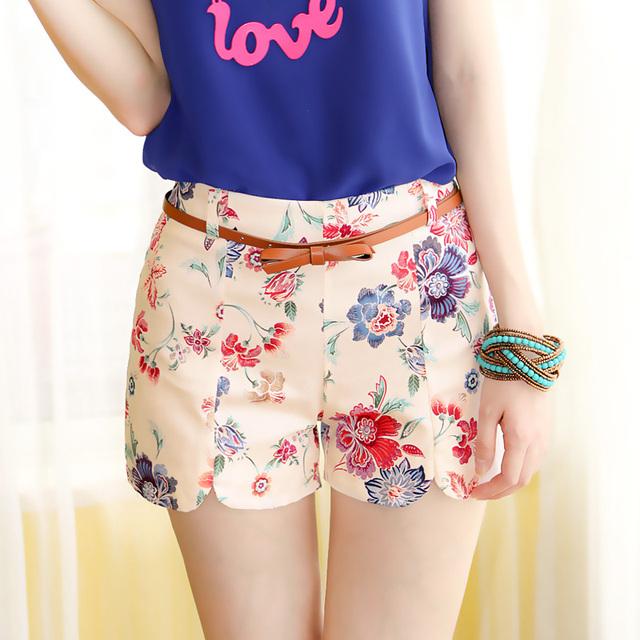 2017 das mulheres do verão fresco calções de moda elástico na cintura shorts feminino floral impressão calças curtas meninas shorts casual vestidos