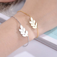 Eleple Korean Stainless Steel Leaf Bracelet for Ladies Romantic Valentines Day Gift Unique Jewelry Factory Delivery S-B308