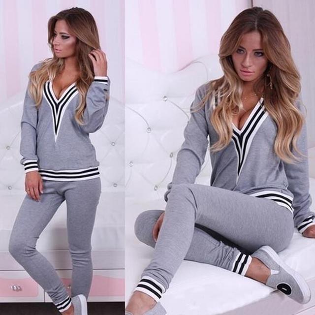 New Women Cotton Tracksuit Lady Suits Hoodies Suit Set V Neck Sexy Sweatshirt+Pant Gray Black Femme Plus Size S-XL