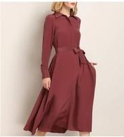 2018 spring, European, American, 23 num, heavy silk lapel, long sleeved shirt, long skirt, chestnut long dress
