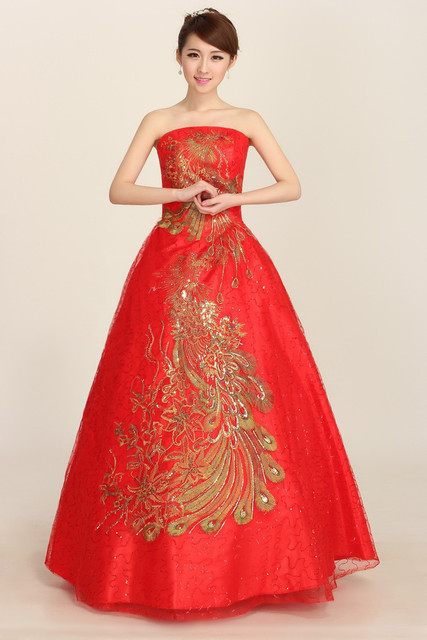Red Lace Phoenix Bridal Elegant Romantic Wedding Reception Ball ...