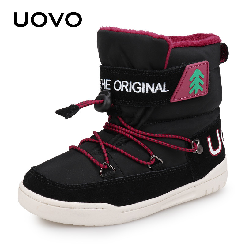 UOVO Winter Snow Boots Kids 2018 New Fashion Children Warm Boots Boys And Girls Shoes With Plush Mid-Calf Boots Black Blue 29-37 цена