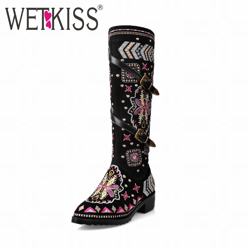 Genuine Leather Fashion Ethnic Style Prints Buckle Knee High Boots Brand Ethnic Boots Woman Spring Autumn