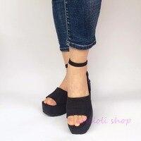 Милые туфли в стиле Лолиты для принцесс loliloli yoyo, японский дизайн, большие размеры, черные босоножки из флока на высоком каблуке с пряжкой на