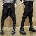 Hombres de la Personalidad Oblicua Diseño Baggy Baja Entrepierna Harem Pant Marca Calidad Novedad Negro Pantalones Rectos Ocasionales 2017 Punk Fashio