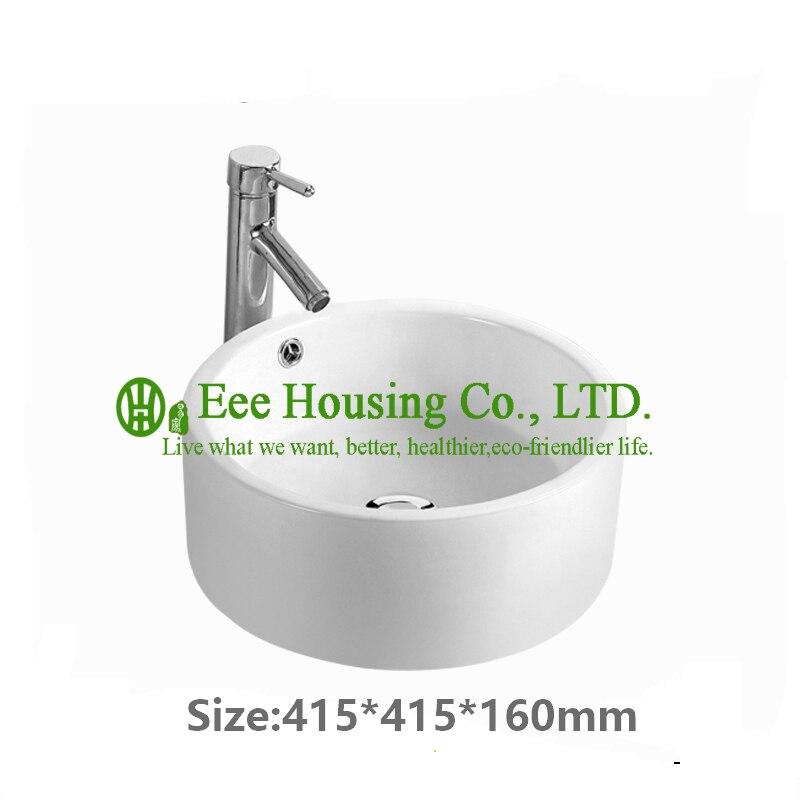 Évier en céramique de salle de bains de petite taille de vente chaude, bassin d'évier en céramique d'usine, bassin de lavage d'articles de porcelaine de la chine avec la cabine