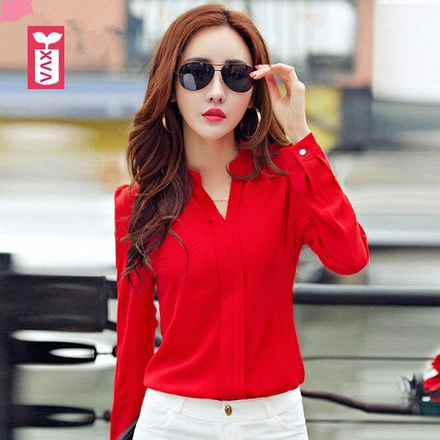 7ee59ea43782 Drop Ship New 2018 Red Office Formal Chiffon Blouse Womens Long Sleeve Black  Shirts Girl Tops Tees Summer Hot Sexy Slim