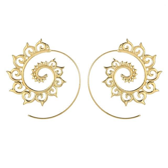 docona  Punk Gold Sliver Hollow Spiral Dangle Earrings Women Ladies Tribal Gear Drop Earring Circle Ear Festival Jewelry 4755 1