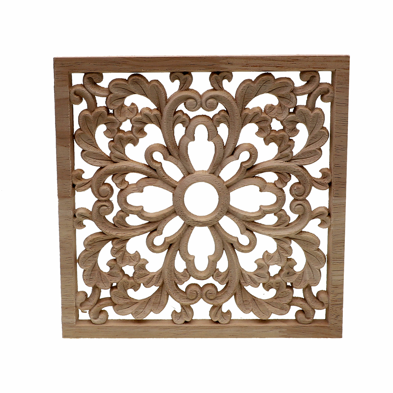 RUNBAZEF Vintage Wood Carved Decal Corner Onlay Applique Frame Furniture Wall Unpainted  Home Cabinet Door Decor Crafts Square
