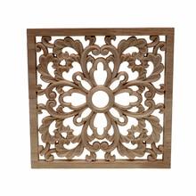 RUNBAZEF Vintage madera calcomanía tallada esquina Onlay marco de aplicación mueble o pared sin pintar casa gabinete puerta manualidades decorativas cuadrado