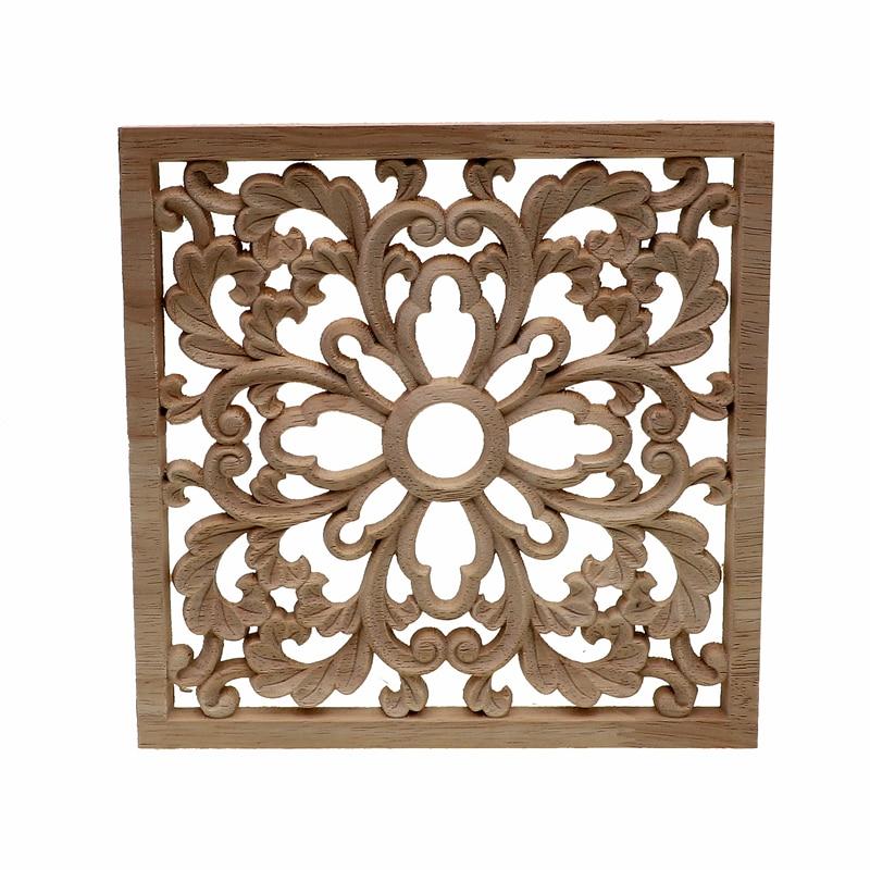 Vintage Unpainted Wood Carved Decal Onlay Applique Frame Furniture Decor Crafts