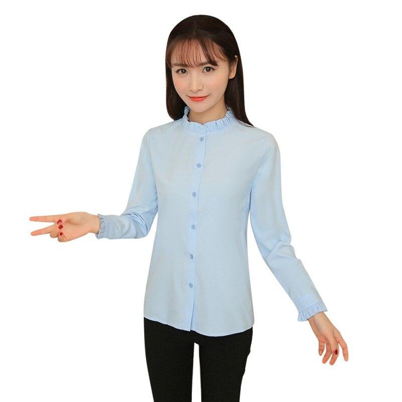 2017 Spring Summer Sweet Girl Women Cute Blouse Ruffled Collar Petal Sleeve Top Basic Shirt Blusas Femininas S4