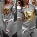 Women Sets Suit Sweatshirt + Pants Cracking Gray Tracksuit Gold Heart-shaped Suits S-XL