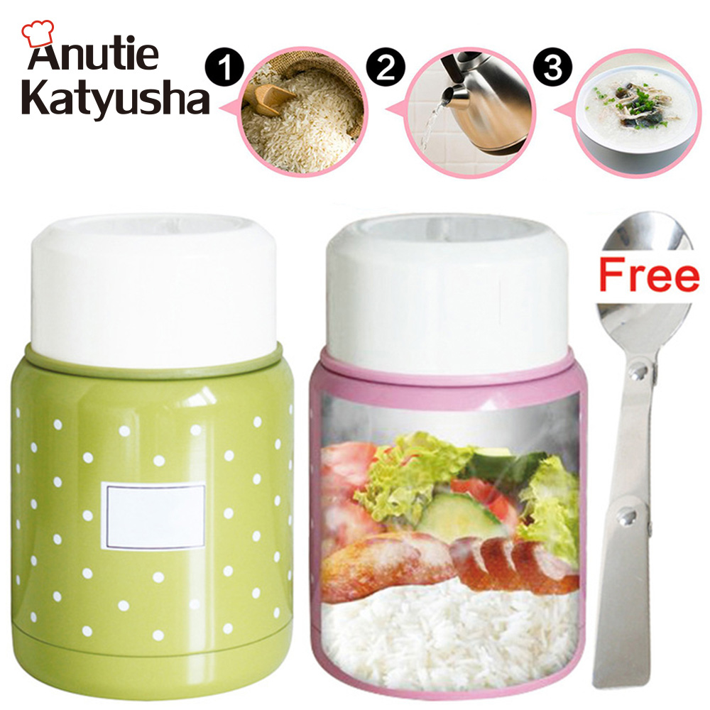 350ml Double Stainless Steel Thermo Lunch Box Soup Mug Soup Thermos Inox Spoon Food Container Portable Handle Vacuum Drinkware ...
