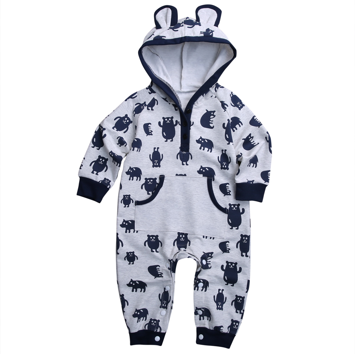 Newborn Infant Baby Boy Girl Kids Winter Clothes Cotton Warm Bear Long Romper Jumpsuit Outfit newborn infant baby boy girl cotton romper jumpsuit boys girl angel wings long sleeve rompers white gray autumn clothes outfit