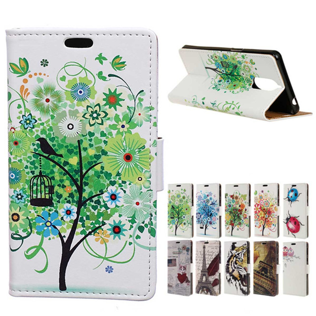 Doogee Shoot 1 case Green tree PU leather pattern flip wallet stand cover case For Doogee Shoot 1 mobile phone cases Coque Funda