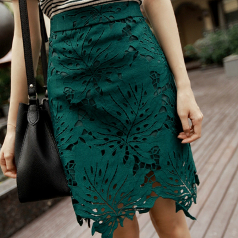 2018 Womens Summer New Leaves Embroidery Lace Skirt Pencil Skirts Office Ladies High Waist Knee Length Vintage Midi Skirt S6269