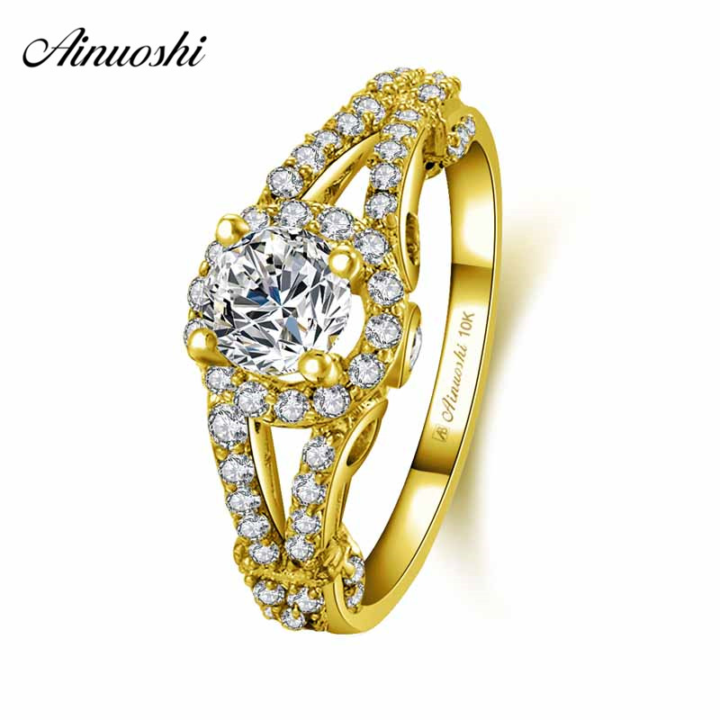 AINUOSHI 10k Solid Yellow Gold Halo Ring Woman Wedding Engagement Jewelry 0.5ct Round Cut SONA Diamond Rows CZ Ring Bridal BandAINUOSHI 10k Solid Yellow Gold Halo Ring Woman Wedding Engagement Jewelry 0.5ct Round Cut SONA Diamond Rows CZ Ring Bridal Band