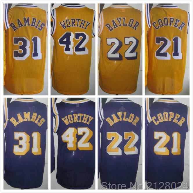newest 1ef10 ea1ae Los Angeles 42 James Worthy Jersey Yellow 22 Elgin Baylor ...