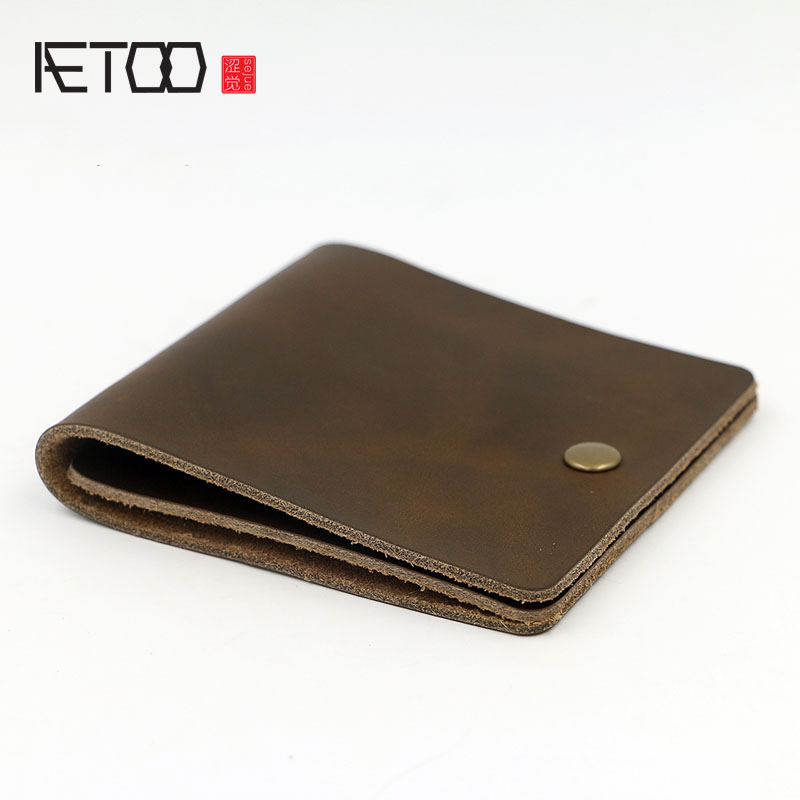 AETOO Original design handmade two-tier mad horse leather wallet simple thin section of cross-money wallet